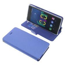 funda para Wiko Fever 4G Book Style Protectora Teléfono Móvil Estilo Libro Azul