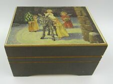 Vintage Wooden Reuge West German Christmas Music Box - Oh Come All Ye Faithful