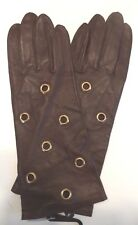 Ladies Long Genuine Leather Ringlet Gloves, Small, Brown