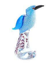 """New 10"""" Hand Blown Art Glass Bird Figurine Sculpture Statue Blue"""