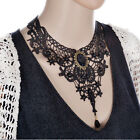 Black Lace&Oval Gem Beads Necklac Choker Victorian Steampunk Style Gothic Collar