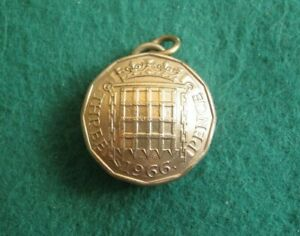 Vintage Domed Brass 1966 Threepence Coin Fob / Pendant