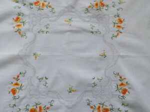 Beautiful Vintage Table Cloths Hand-Embroidered Moulin Threads