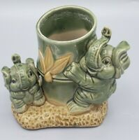 Baby Elephants Playing Planter Bamboo Good Luck Trunk Up Succulent Planter Vtg