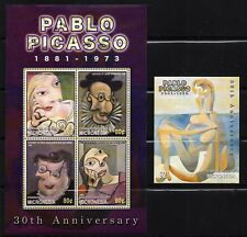 MICRONESIA, Scott # 579-580, SET OF 2 MINI SHEETS PAINTINGS BY PABLO PICASSO MNH