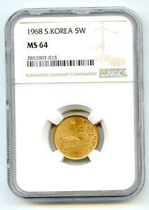 Korea, South 5 won pretty HG coin NGC MS 64 Very scarce so nice lotfeb3217