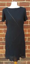 St Michael Vintage Viscose Mancheron Polyester Doublé Noir Robe UK 14