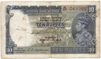 British India Rs 10 Note first issue of KG VI prefix H Deshmukh fine scarce 1944