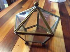 Vintage Brass Glass Curio Display Box chest Trinket Jewelry