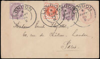 SG172 & SG197 1898 1d. Pink, uprated with ½d and 1d, making 2½d rate to Franc...