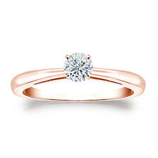 Certified 14k Rose Gold 4-Prong Round Diamond Solitaire Ring 0.25ctw G-H, I2-I3