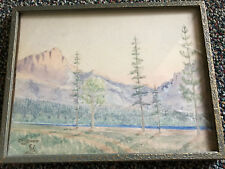 small VINTAGE Montana LANDSCAPE original watercolor PAINTING by D Bester 1934