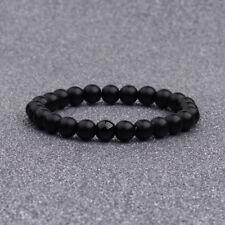 Bracelet à perles en agate de pierre d'agate noire naturelle pour Homme Cadeau
