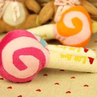 1X Pet Dog Puppy Cat Squeaky Squeaker Sound Toy  Cotton Wool Lollipop 15cm FGUK