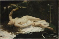 Gustave Courbet Woman With A Parrot Giclee Canvas Print Paintings Poster