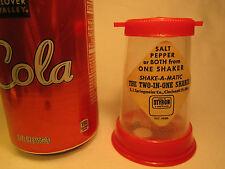 Vintage PLASTIC Salt Pepper Shaker Combo SHAKE-A-MATIC Styron [Z230e]