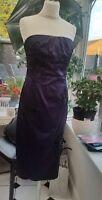 JANE NORMAN ELEGANT BLACK & PURPLE STRAPLESS SATIN COCKTAIL DRESS - SIZE 12