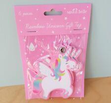 Set da 6 Rosa Unicorno Etichette Regalo Bambine Principessa Festa di Compleanno