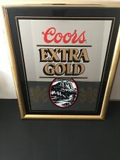 """Coors Extra Gold Beer Mirror Sign Bar Pub Man Cave 1988 21"""" x 17"""""""