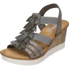 57f8baf1afc0 Women s Rieker Leah 65505 Wedge Heel Sandals in Grey - Size UK 8   EU 42