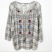 WOMEN'S JOHNNY WAS GRAY FLORAL EMBROIDERED 3/4 SLEEVE BOHO BLOUSE SZ SMALL NWOT