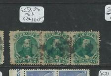 BRAZIL (P1106B) DOM PEDRO 100R SC58 STRIP OF 3 FANCY CORK CANCEL  VFU
