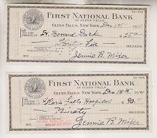 2 1941 BANK CHECKS - FIRST NATIONAL BANK OF GLENS FALLS - GLENS FALLS NEW YORK