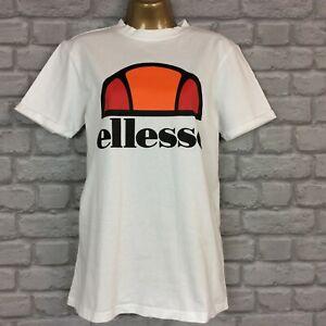 ELLESSE LADIES WHITE LARGE LOGO T-SHIRT TOP TEE VARIOUS SIZES T
