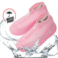 Silicone rain boots waterproof zipper shoe cover reusable portable non-slip