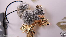 Signed Crystal Swarovski Squirrel Pin~ Brooch 22Kt Gold Plated Retired New