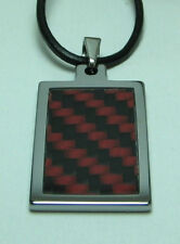 """Men Tungsten Red/Gray Carbon Fiber Pendant with 3mm Leather Necklace Cord 20"""""""