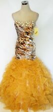 NWT Party Time Formals 6025 Gold $478 Party Prom Gown 2