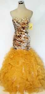 NWT Party Time Formals 6025 Gold $478 Ball Prom Gown 10