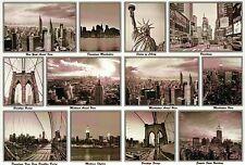 Brooklyn Bridge, Broadway, Statue of Liberty etc., New York City NY - Postcard