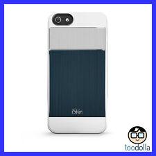 iSkin Aura Ultra Slim Case, Brushed Aluminium Finish, iPhone 5/5s/SE Blue/Silver