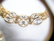 "Vintage S.A.L. Swarovski Goldtone Choker Necklace, White Crystals, 18""L"