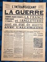 La Une Du Journal L'intransigeant Lundi 4 Septembre 1939 La Guerre