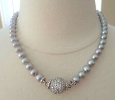 JUDITH RIPKA Signed, Sterling 925 Stamped, Diamonique, Gray FWP, Necklace. RV ov