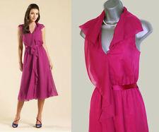 MONSOON Pink Kirkland Waterfall Frill Detail Elastic Waist Midi Dress UK 10 £120