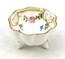 Antique Nippon Pink Roses OPEN SALT CELLAR DIP NUT DISH Scalloped Hand Painted