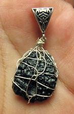 Tibetan Tektite Meteorite Crystal Shambala Stone SS Synergy Pendant #15