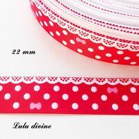 Ruban gros grain rouge à pois & effet dentelle blanc - noeud rose de 22 mm au m