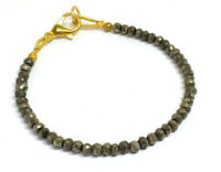 """3-4MM Natural Pyrite Rondelle Faceted Gemstone Beads 7"""" Bracelet Jewellery"""