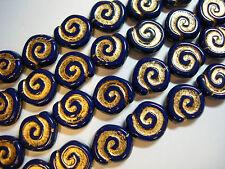12 - 12mm Navy Blue with Gold Snail Shell Spiral Coin Czech Glass Beads