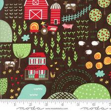 MODA Fabric ~ FARM FUN ~ Stacy Iest Hsu (20531 19) Chocolate Milk - by 1/2 yard