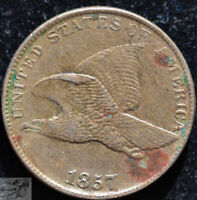 1857 Flying Eagle Cent, Extremely Fine+ Condition, Double Die Obverse, DDO C5133