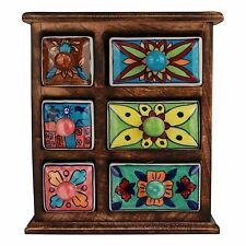 Apothekerschrank 6 Schubladen Gewürzschrank Porzellan Kräuter Holz Keramik Antik