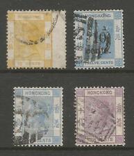 HONG KONG SG22,25a,29& 30 FINE USED 1877-80 VICTORIAN QUARTET CAT £242