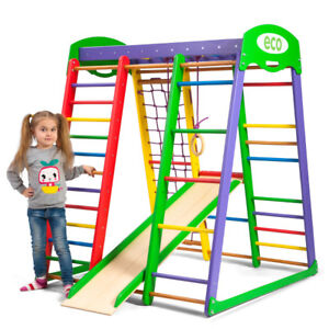 Sport Game Play Baby Toys Home Kids Gym Ladder Bars Playground Wooden Children