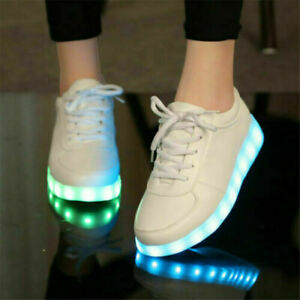 Flashing LED Light Up Shoes Luminous Sneakers Men Women Leather Casual Trainers